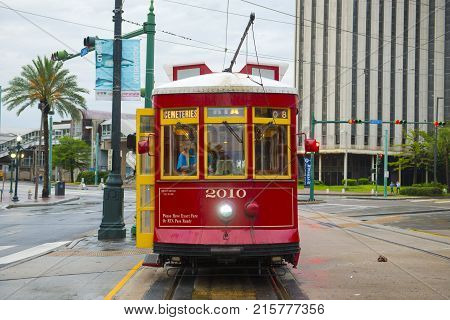 NEW ORLEANS - MAY. 30, 2017: RTA Streetcar Canal Line Route 47 or Route 48 on Canal Street in downtown New Orleans, Louisiana, USA.