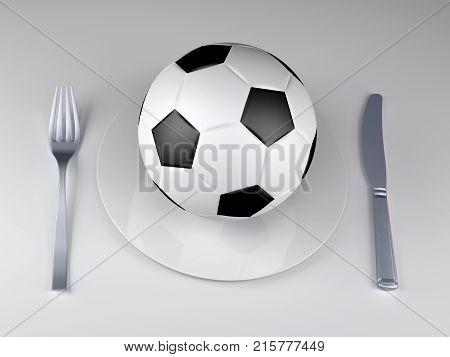 Soccer Ball On A Plate