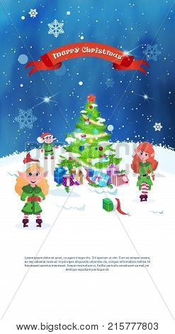 Christmas Tree Decorated With Colorful Balls And Garland With Group Of Elfs Greeting Card Flat Vector Illustration