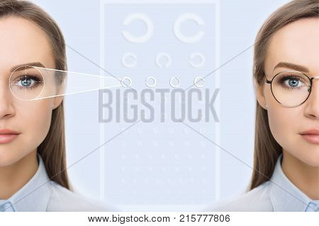 female face, cut in half to present before and after checking vision. Woman face without glasses and with glasses , on background virtual holographic eye chart. Eye exams concept