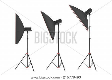 3d rendering of studio flash with big size softboxes stands turned down in several angles. Professional lighting gear. Photo shoot necessities. Preparation for photographer's work.