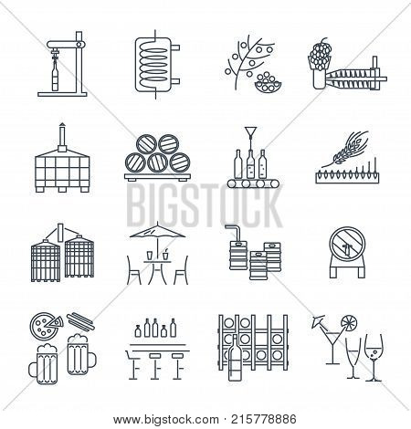 set of thin line icons alcohol drinks beverages wine beer