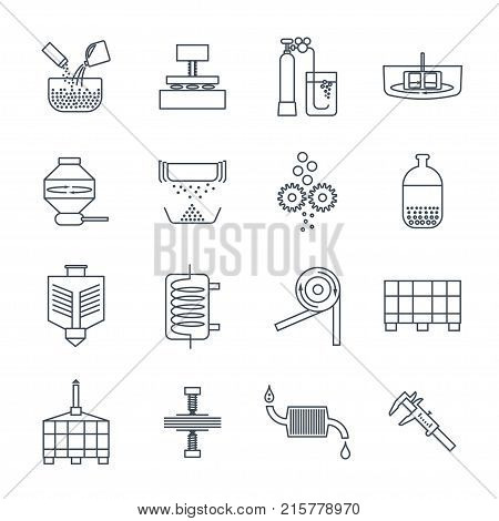set of thin line icons industrial production fabrication process factory technology equipment