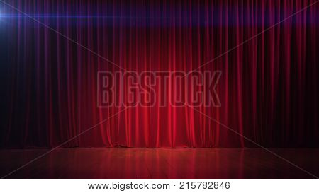 Dark empty stage with rich red curtain. 3d illustration