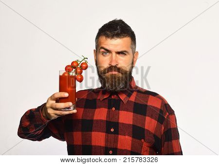 Farmer With Confused Face Shows Bunch Of Cherry Tomatoes.