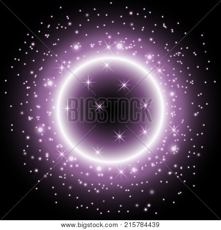 Light ring with stardust bright sparkling ring on black background light effect purple color