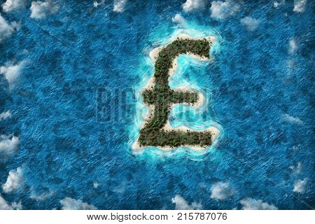 Tax haven financial or wealth evasion on a Pound shaped island.