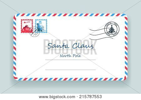 Santa Claus Christmas Mailing Address Post Letter Vector Illustration