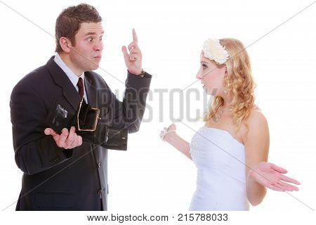 Relationship problems and troubles concept. Groom and bride having quarrel argument about money.