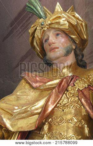 BELEC, CROATIA - NOVEMBER 17: Biblical Magi Gaspar statue on the altar in the Baroque Church of Our Lady of the Snow in Belec, Croatia on November 17, 2011.