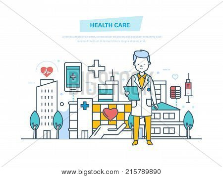 Healthcare and medical help. Doctor therapist in dressing gown, doctor working at hospital. Medical institution, hospital, building, clinic. Illustration thin line design of vector doodles.