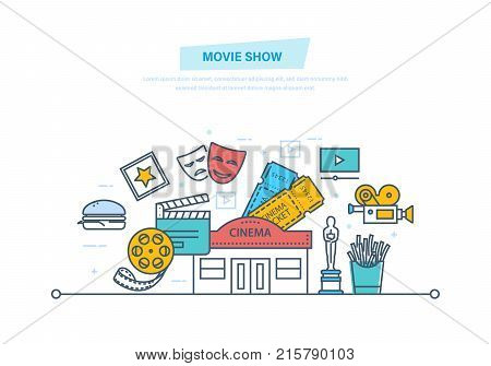 Movie show. Entertainment, cinema building, movie theater. Cinema icons, tickets to cinema, media, film, food, fast food, movie watching entertainment. Illustration thin line design of vector doodles
