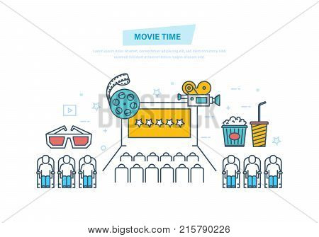 Movie time. Entertainment, movie theater. Cinema icons, tickets to cinema, audience in cinema hall. Rating of film, best seller, novelty film premiere. Illustration thin line design of vector doodles.