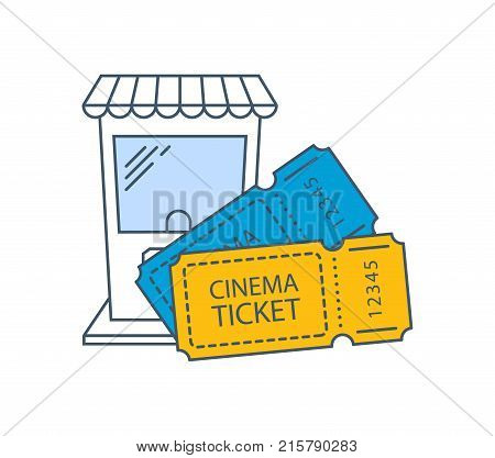 Cinema tickets icon. Cinema, movie time. Entertainment in your spare time, event. Modern movie tickets on movie, access to theater hall, ticket office. Illustration thin line design of vector doodles.