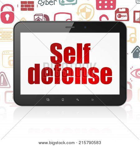 Security concept: Tablet Computer with  red text Self Defense on display,  Hand Drawn Security Icons background, 3D rendering