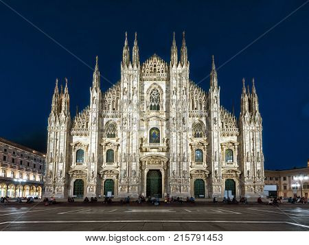 The famous Milan Cathedral (Duomo di Milano) on the Piazza del Duomo in Milan, Italy. Milan Duomo is the largest church in Italy and the fifth largest in the world.