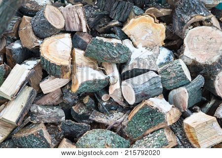 The Texture Of Firewood. A Pile Of Firewood.