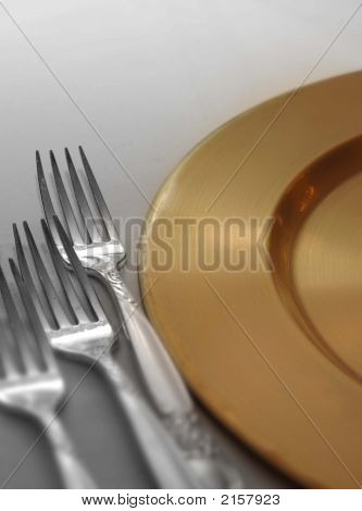 Silver And Gold Place Setting