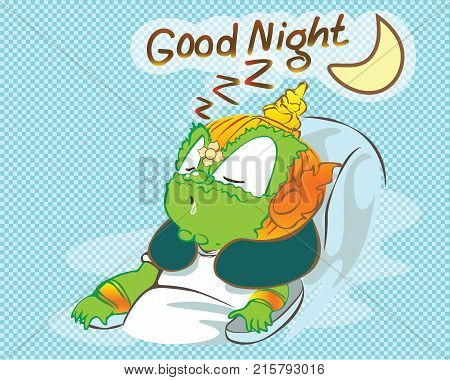 Good night times Thai Giant man green color sleeping on seat cartoon acting cute character design on background transparency computer graphic.