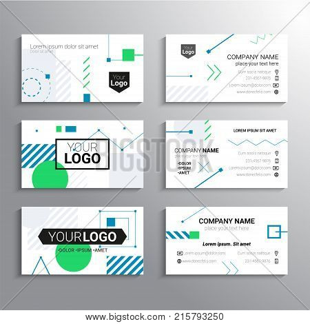 Set of business cards - vector template abstract background with place for your text, information, company name and contact information. Geometric shapes, lines. Blue and green colors