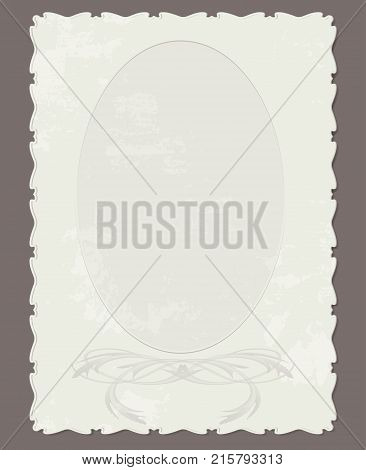 vector retro vertical cardboard photo frame with embossed ornament edges patterns and spots of old age. oval window photos