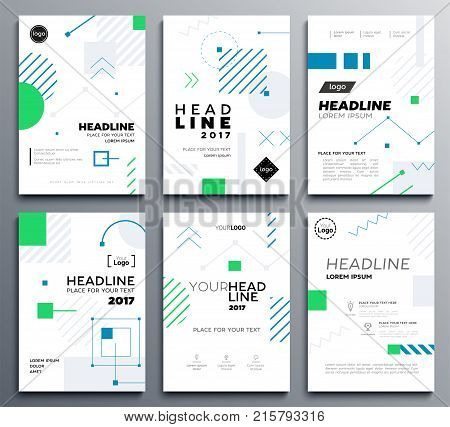 Presentation booklet cover - vector template a4 pages on abstract background with blue and green geometric shapes. Place for your text, images, contact information, infographics, tables and headlines
