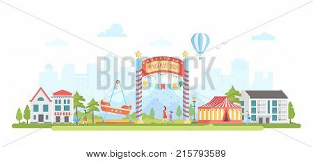 Amusement park - modern flat design style vector illustration on urban background. Lovely cityscape with attractions, circus, houses, people walking. Hot air balloon silhouette. Entertainment concept