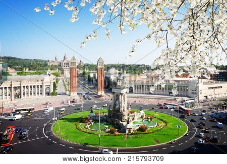 skyline of Square of Spain at spring day, Barcelona, Spain, toned