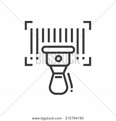 Barcode scanner - line design single isolated icon on white background. High quality black pictogram