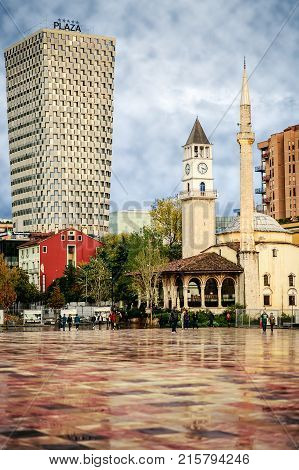 Tirana Albania. November 12 2017: Newly reconstructed city central Skanderbeg square citizens walking at pedestrian zone.