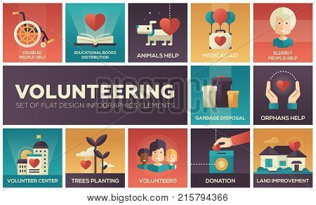 Volunteering - set of flat design infographics elements. Disabled and elderly people help, educational books distribution, animals, medical aid, garbage disposal, orphans, trees planting, donation
