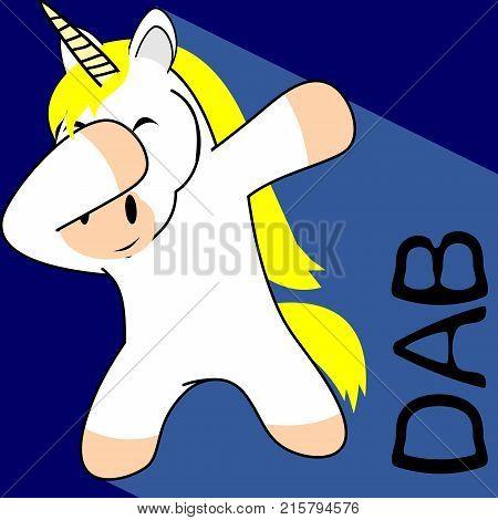 dab dabbing pose unicorn kid cartoon in vector format very easy to edit