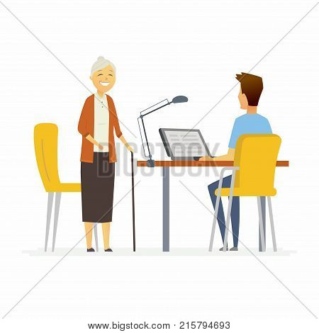 Volunteer help senior woman - cartoon people characters isolated illustration on white background. Young social worker sit at the computer in the office and listens to a pensioner, solves her problem