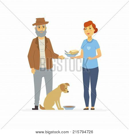 Volunteer bring food to homeless - cartoon people characters isolated illustration on white background. Young female social worker gives hot dish with bread to a senior person with a dog