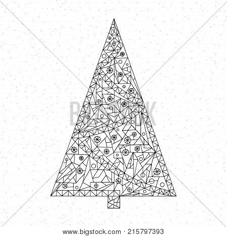 Christmas tree coloring page. Hand drawn abstract winter holidays vector illustration. Xmas background in modern style. Happy New Year art.