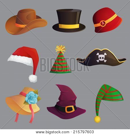 Fun carnival festive collection of cute celebration and disguise hat head accessorie and headband santa hat cowboy and pirate hat party cone.