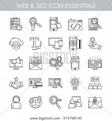 Big bundle of essential basic line art icons for seo web e-commerce online business and internet marketing. Basic icon kit for web and app design.