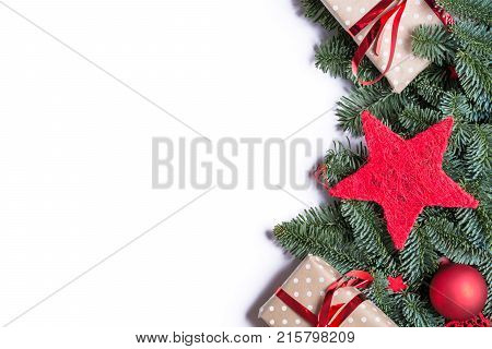 Christmas Background Border On The Right Side With Fir Branches And Other Decorations Presents Red S