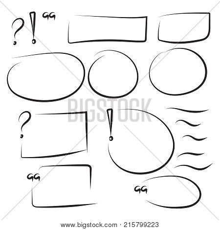Set hand drawn rectangle, quotes, circle, question, exclamation mark, underline felt-tip pen objects. Text box and frames. Vector handdrawn elements.