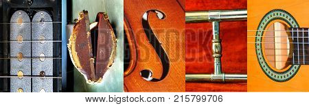 Letter photographs form the word MUSIC. Letters are taken from trombone trombone case guitar and violin.