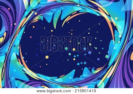 Abstract dark blue and multicolored background, ellipse frame, night template