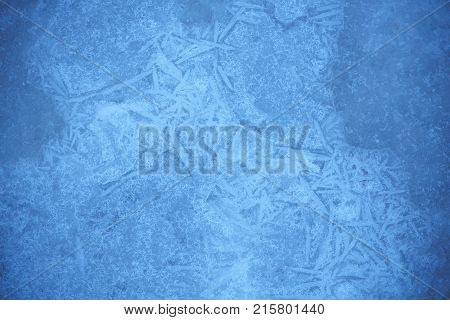 Frost Crystal Border On Ice, Christmas Backdrop.