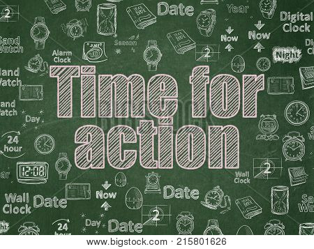 Time concept: Chalk Pink text Time for Action on School board background with  Hand Drawing Time Icons, School Board