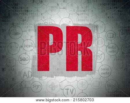 Advertising concept: Painted red text PR on Digital Data Paper background with  Scheme Of Hand Drawn Marketing Icons