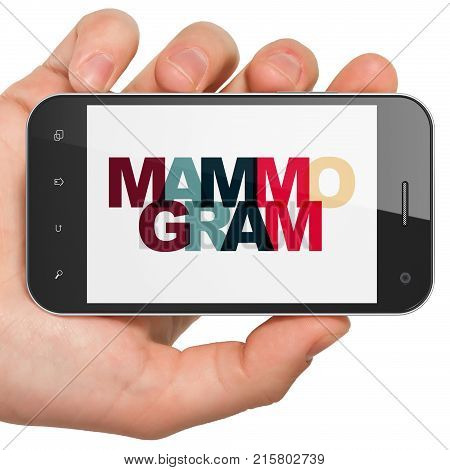 Health concept: Hand Holding Smartphone with Painted multicolor text Mammogram on display, 3D rendering