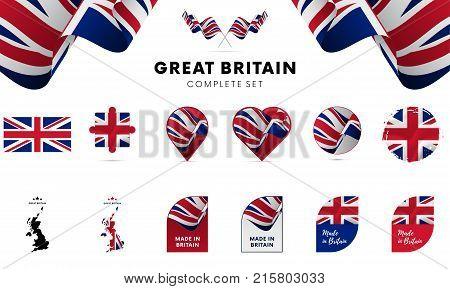 Great Britain complete set. Shapes set. Vector illustration.
