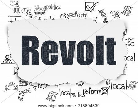 Political concept: Painted black text Revolt on Torn Paper background with  Hand Drawn Politics Icons