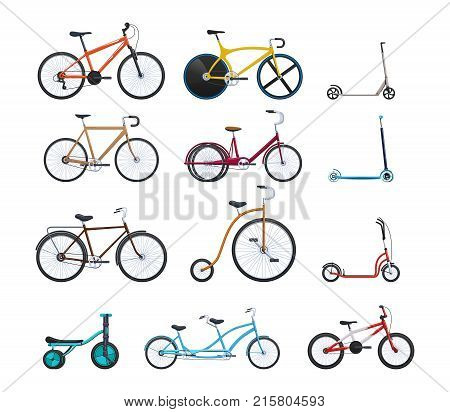 Set of summer vehicles for transportation, city bicycles: travel and walks, sports races, children's scooters, kids bicycles, circus, family, walking. Cycling, bike and bicycle. Vector illustration