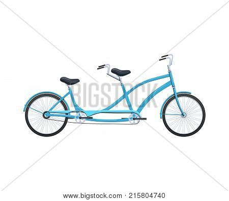 Summer retro tandem bicycle vehicle for transportation, city family bicycles: travel and walks, sports races, family bike, walking. Cycling, bike and bicycle. Vector illustration.