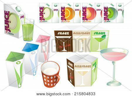 Set of juice and milk blank, realistic colorful boxes. Mock-up packages templates with screw cap. White cardboard brick package for dairy products, juice or beverage, cocktails. Vector illustration.